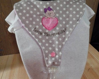 "Pacifier bib embroidered applique ""Little Heartbreaker"", binky bib, binkie bib, drool bib, baby gift"