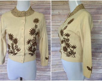 1950s beaded cardigan | 50s wool cardigan | 1950s cardigan with floral beading | beaded sweater | 1950s sweater - sold as is