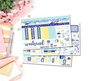 Lemon Twist Planner Sticker Kit (Horizontal), Erin Condren Horizontal Planner Sticker Kit