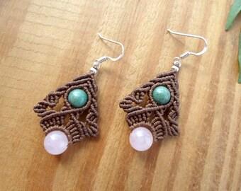 Rose Quartz macrame earrings, macrame jewelry, moss agate earrings, micro macrame, gemstone earrings, elven jewelry, fairy earrings