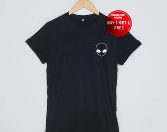 Alien Shirt Tumblr T-Shirt Pocket T Shirts Space Funny Tshirt Women Size S M L XL - 3XL Heather Grey Black White