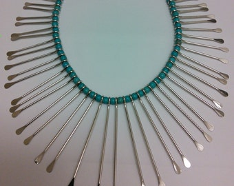 Spike necklace. Handmade silver plated Turquoise necklace.