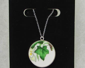 """China Necklace, Made with Vintage Royal Albert Bone China """"Ivy Lea"""", Ivy Leaf Necklace, Broken China Jewelry, Pendant, Sterling Silver"""