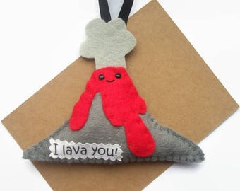 I Lava You, Felt Volcano, Gifts for Boyfriend, Cute Decorations, Friendship Love Gifts, Handmade