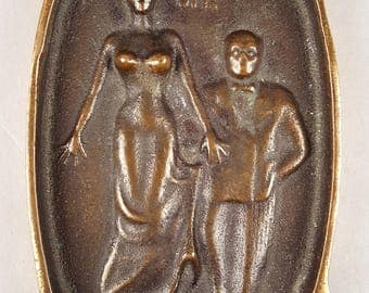 Antique or Vintage Novelty Ashtray Dirty Naughty Adult, Gentleman Lifting Lady's Skirt OH, Bronze Tobacciana 1930s Thirties or 1940s Forties