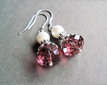 Sterling Silver Burgundy Earrings Crystal Jewelry Vintage Style Pearl Earrings Gift Idea Wedding Jewelry Statement Earrings Bridesmaid Gift