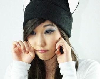 Black Cat - Fleece Kitty Cat - Kitty Cat - Cat Ear Hat - Black Cat Toque - Cat Fleece Hat - Cat Cosplay Hat - Gift Under 20 - Cat Costume