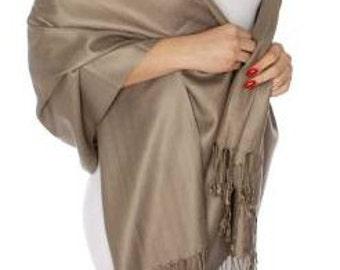 Mocha or light brown Wedding Pashmina -  mocha Bridesmaid shawl- brown Bridesmaid's scarf - brown bridal Shawl -mocha party favors