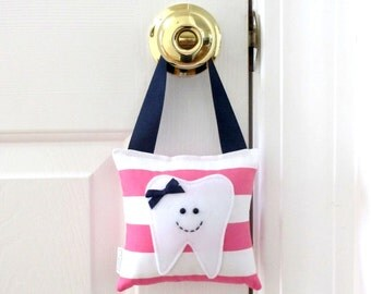 Girls Tooth Fairy Pillow - Personalized Tooth Fairy Pillow - Pink Stripes