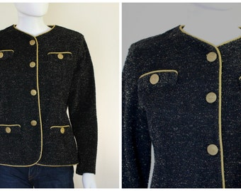 Vintage 70s Military Style Black Metallic Black Gold Knit Button Up Long Sleeve Blazer Jacket By Calais LTD Made in The USA SIze 10 US M/L