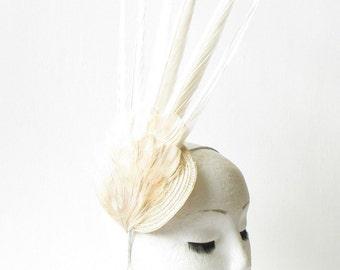 Ivory Cream Pheasant Feather Statement Fascinator Races Vintage Races Hat 1465