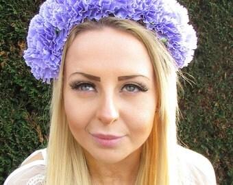 Large Light Purple Carnation Flower Hair Crown Headband Garland Festival 1723