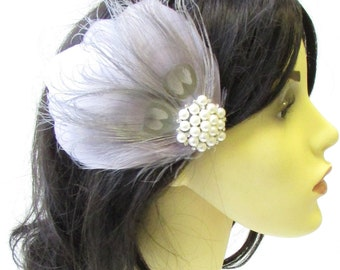 Grey Ivory Silver Pearl Feather Fascinator Hair Clip 1920s Flapper Races 1811