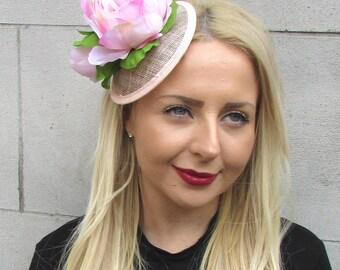 Blush Light Pink Peony Flower Fascinator Races Headband Headpiece Clip Hat 2311