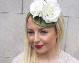 Cream Rose Flower Olive Green Velvet Fascinator Hat Hair Clip Vintage Races 2633