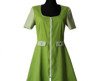Vintage Apple Green Dress Summer with Zipper Boho Dress Cotton Short Sleeve Dress Medium Size Women's Clothing