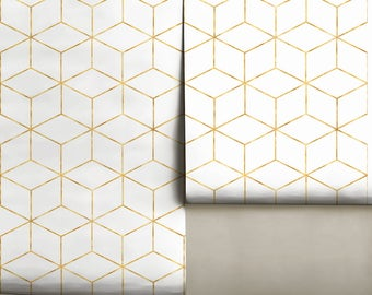 Gold Cube Geometric Removable Peel 'n Stick Wallpaper