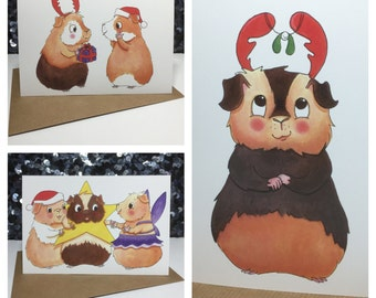 Guinea Pig Christmas cards - 3 designs to choose from