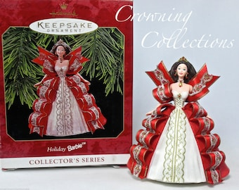 1997 Hallmark Holiday Barbie Keepsake Ornament 5th in Celebration Series Ribbon Dress #5 Brunette Vintage