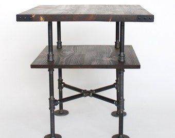 Rustic End Table, Night Stand, Square Side Table With Shelf, Farmhouse End  Table