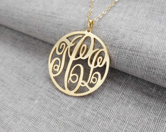 Round Monogram Necklace,Gold Circle Monogram Necklace,Three Letters Nameplate Monogrammed,Monogrammed Gifts,Personalized Jewelry