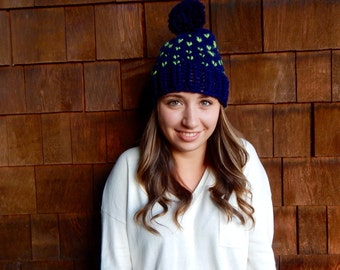 Fair Isle Knit Slouchy Pom Pom Hat  Seattle Seahawks Hat in Navy and Action Green