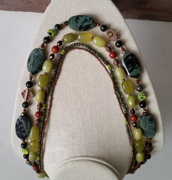 "KAMBABA JASPER MULTISTRAND Necklace with Green Lemon Jade, Copper Hamsa, Red Jasper, Seed Beads. 22-26"". Fossil Stone. Statement Necklace."