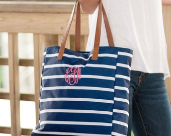 Navy Monogrammed Striped Tote Bag Personalized Tote Striped Tote Bag Beach Bag Overnight Bag Weddings Bridesmaids Highway12Designs