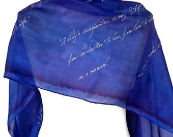 Pride and Prejudice Jane Austen Book Scarf,  Hand Painted Extra Large Silk Scarf 18X72 inch Gift-Wrapped,