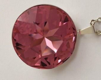 Large Pink Swarovski Necklace, Pink Swarovski Crystal Necklace, Swarovski Round Stone Necklace