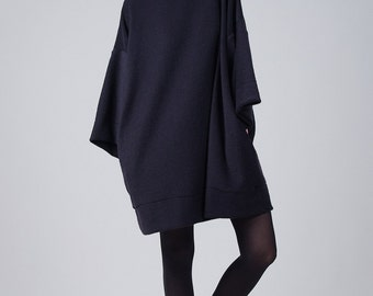 Shapeless oversized black dress / Woman black dress / Long sleeves oversized dress / Long sleeves tunic / Fasada 1728