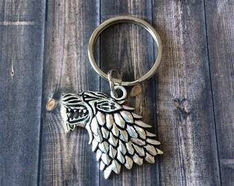 Dire Wolf Keychain - Silver Tone - Celtic Wolf