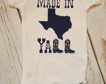 Texas, Onesie, Made In Texas Yall Onesie, Made In Texas Onesie, Bodysuit, Made In Texas, Baby Girl Onesie, Baby Boy Onesie, Baby Shower Gift