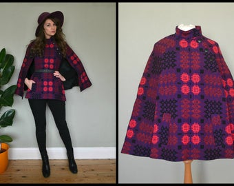 Vintage 1960's 1970's Purple Welsh Wool Short Cape