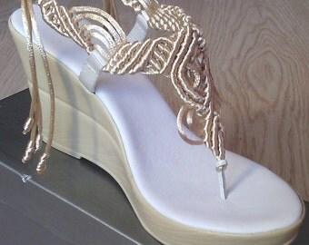 Women's Shoes, Sandals, Bohemian Wedding Sandals, Rope Sandals, Handmade Sandals, Macrame Sandals, Model: VESNA
