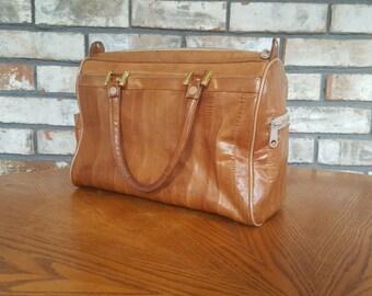 Vintage Genuine Eelskin Handbag / Large Retro Brown Eel Skin Top Handle made in Korea Clean Professional