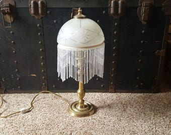 Vintage Mid-Century Lamp with Cut Glass Shade and Working with Brass Base, Charming Farmhouse Shabby Chic Decor