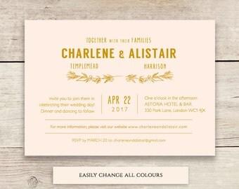 Blush gold wedding Invitation template, or any colours! printable wedding invitation, 'Ellen' | DIY Editable printable template