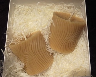 2 Wave Beeswax Candles, Gift Set, Pure Devon Beeswax