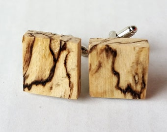 Groomsmen gifts ~ Men's Gift ~ Father's Gift - Wood Cufflink ~ Dramatic Black line Spalted Oak - Rustic wood - Fifth anniversary - jewelry