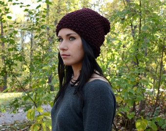 The Ashland Slouchy Textured Beanie ∙ Burgandy/Claret ∙ Warm Winter Hat
