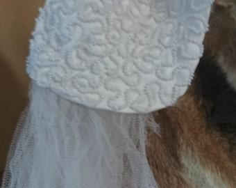 1920s Flapper Beaded Bridal Cap and Veil