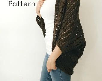 CROCHET PATTERN - Crochet Lightweight Shrug, Crocheted Cartigan, Beginner / Intermediate DIY Easy Batwing Sweater - The Hickory Shrug