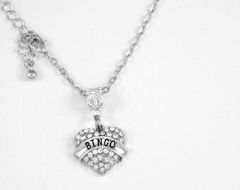 Bingo Gift Bingo Jewelry Binge Charm Necklace Gam Church Bingo Present Diamond Cut Party Gift Necklace