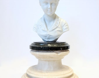 Bisque Bust On Marble Base