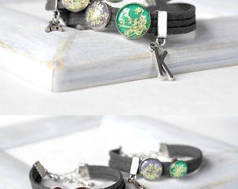 Personalized gift set Personalized bracelet set for sister Friendship bracelet Green bracelet cuff Grey bracelet couples Mint jewelry sister