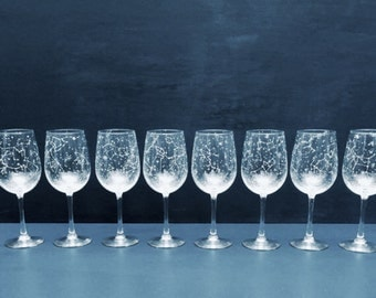 Starry Wine Glasses - Set of 8 Handpainted Star Constellation Wine Glasses - Custom Order Your Own Set