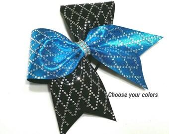 Rhinestone cheer bow, Cheer bow, Diamond cheer bow, Cheerleading bow, cheerleader bow, dance bow, softball bow, cheer bows, bling cheer bow