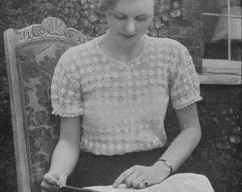 Vintage 1938 Crochet Pattern Ladies Short Sleeve Blouse - digital download