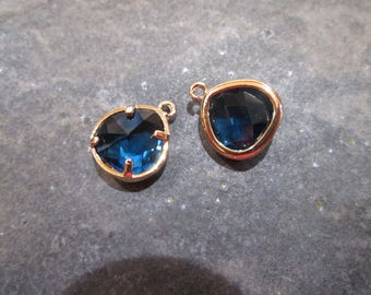 Sapphire Blue bezel set faceted glass charms Package of 2 gold finish charms